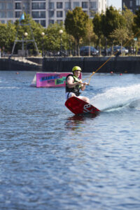 Image of a Wakeboarder at Helley Hansen Watersports Centre. It's near Amplify, which has Salford Quays apartments for sale.