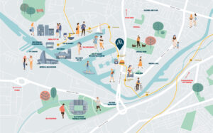 Image showing whats around Salford Quays, apartments for sale.