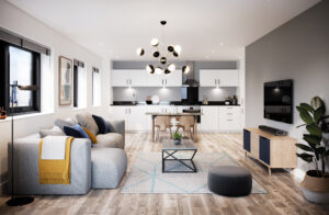 Image of a Living room at Amplify Apartments. Amplify has apartments for sale in Salford Quays.