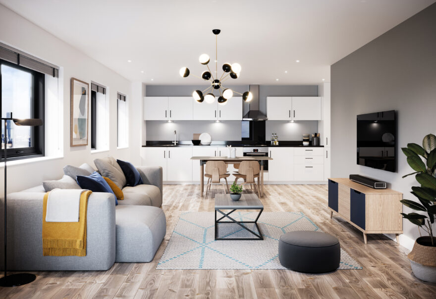 Image inside one of Amplify's apartments. These are based in Salford Quays.