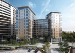 Computer Generated Image of Amplify's Salford Quays Apartments Building