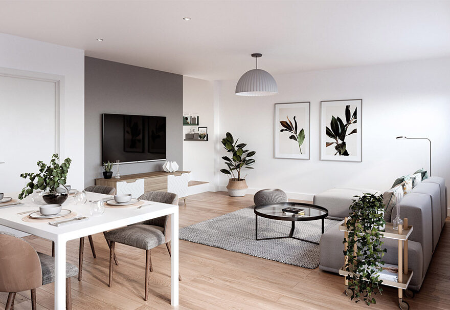 Image inside one of Amplify's duplexes, a house divided into two apartments. These are based in Salford Quays.